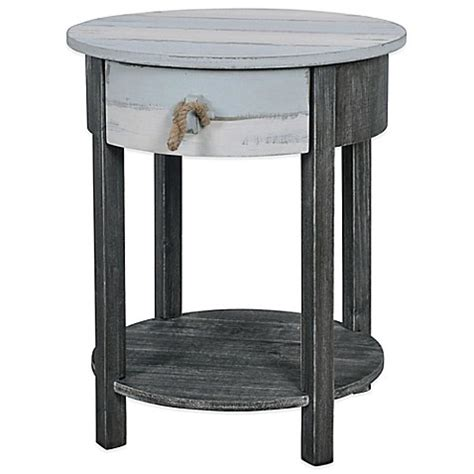 bed bath and beyond side table lakeshore round accent side table in blue grey bed bath