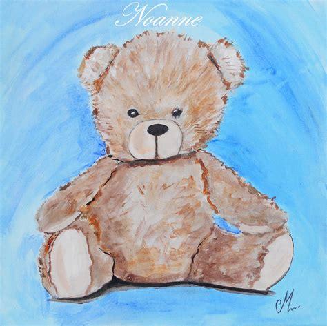 chambre peinte tableau enfant bébé thiméo l 39 ours en peluche bleu et
