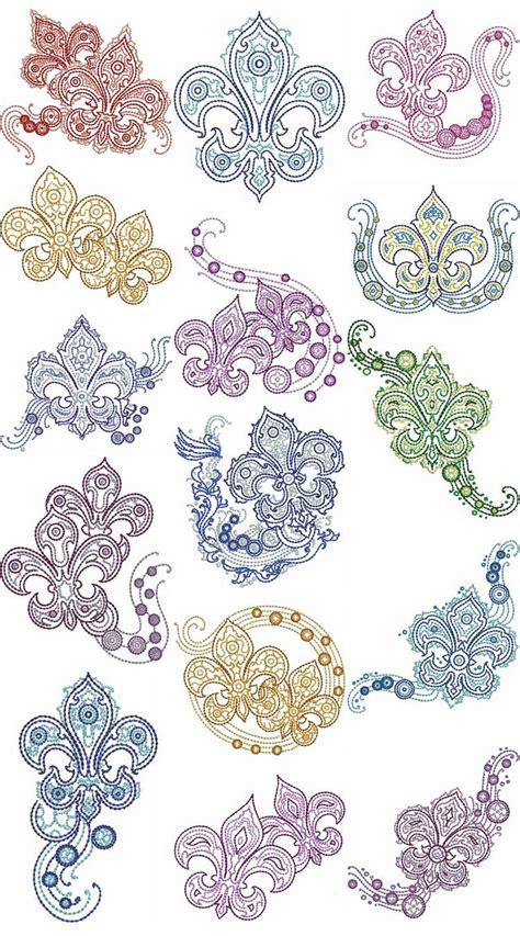 fleur de lis fashion machine embroidery designs  sew swell