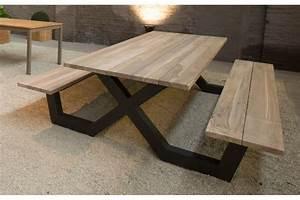 Salon De Jardin En Teck Massif Haut De Gamme : table en bois avec banc exterieur menuiserie ~ Teatrodelosmanantiales.com Idées de Décoration