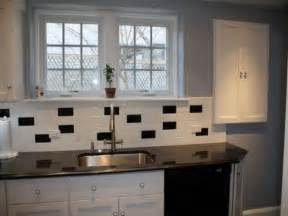 Small Tile Backsplash In Kitchen Classic Black And White Subway Tile Backsplash Ideas For Small Kitchen With Stainless Steel