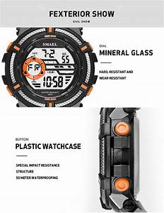 Smael 1616 Water Resistant Wrist Watch Plastic Electronic