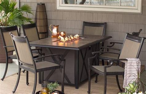 Gas Fire Pit Tables Costco Outdoor Dining Table With Lowes