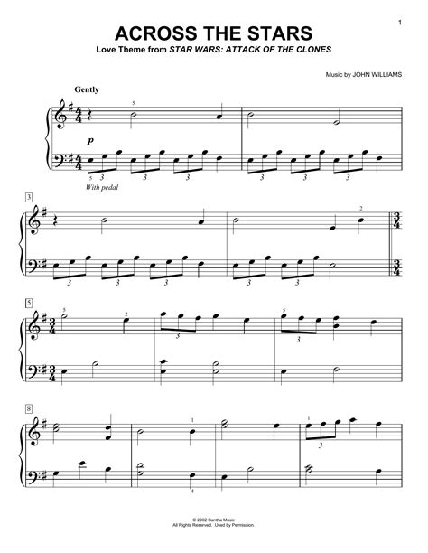across the stars sheet music by john williams easy piano