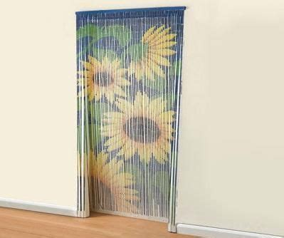 bamboo sunflower door beaded curtain insects fly