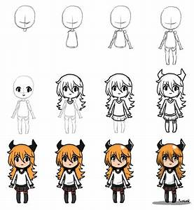 Draw Chibi step by step by Pushimo | Drawing ideas ...