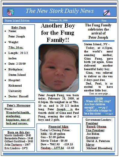 tutorial template newspaper baby newspaper birth announcements video tutorials and
