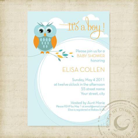 baby shower invitation template owl theme boy  girl