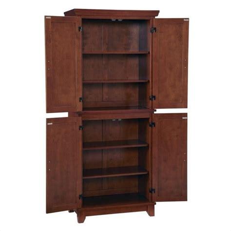 Oak Wood Finish Pantry Furniture Kitchen Storage Cabinet