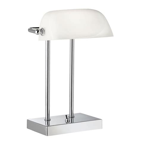 white table l shade bankers style chrome table lamp with white glass shade