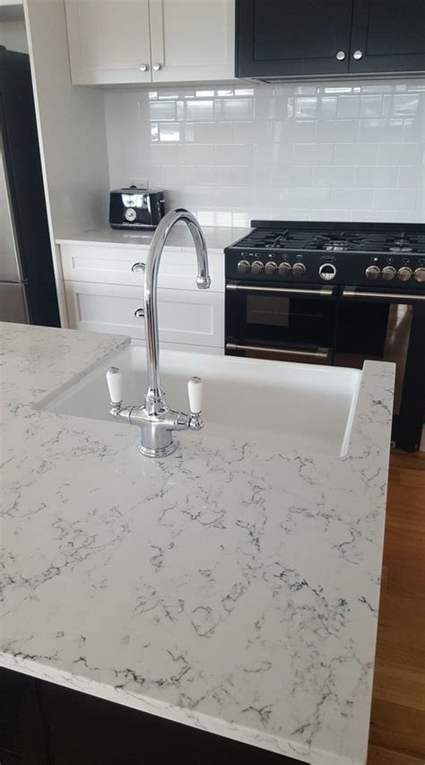 Caesarstone White Attica Quartz Kitchen Countertops