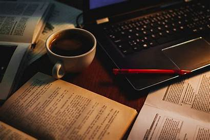 Laptop Coffee Books Cup Pen 4k Background