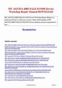 Mv Agusta Brutale F4 910s Service Workshop Repair Manual