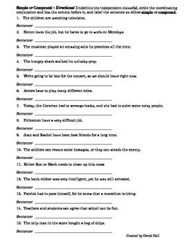 Simple And Compound Sentences Worksheets Rcnschool