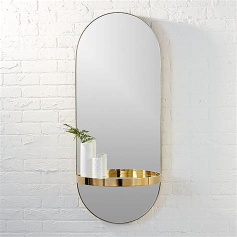 Modern Oval Bathroom Mirrors by Caplet Oval Mirror With Shelf Cb2
