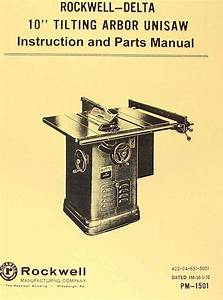 Rockwell Older 10 U0026quot  Unisaw Table Saw Part Manual 34