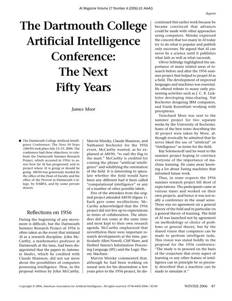 (PDF) The Dartmouth College Artificial Intelligence