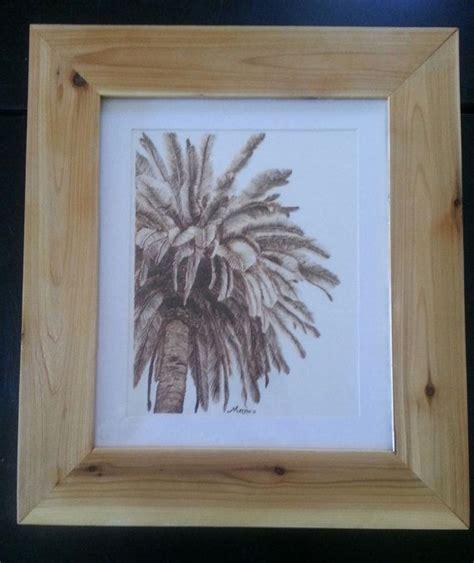 wood burn palm tree burned  paper pyrography wall art