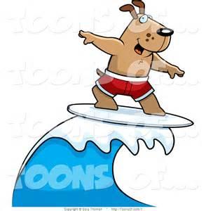 Cartoon Dog Surfing