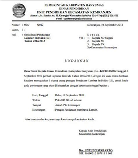 Contoh Surat Undangan Resmi by Contoh Surat Undangan Sosialisasi Resmi Kepada Kepala
