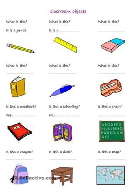students answer questions about classroom objects esl worksheets classroom language school