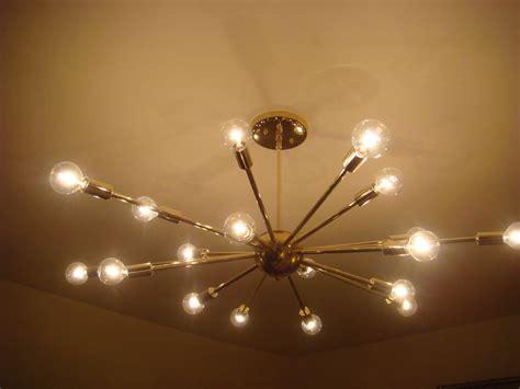 Polished Brass Atomic Sputnik Starburst Light Fixture