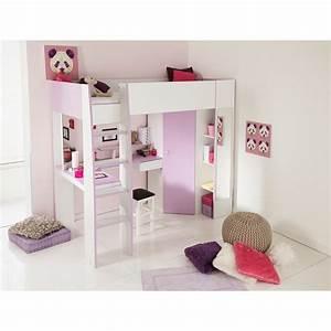 Lit Mezzanine Pour Enfant : lit mezzanine enfant 90x200 blanc meg ve et lila lm1016 ~ Teatrodelosmanantiales.com Idées de Décoration