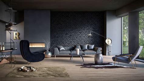 splendid living rooms  black brick wall