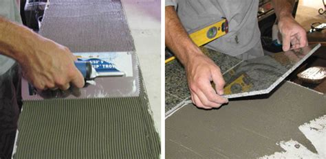 how do you get glue a countertop tiling of kitchen worktop step by step guidance