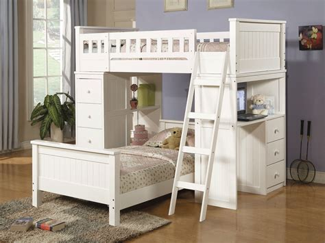 Girls-white-loft-bed-for-small-room