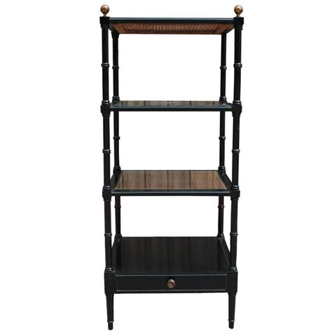 Bamboo Etagere by Square Black Lacquer And Rattan Faux Bamboo Modern Etagere