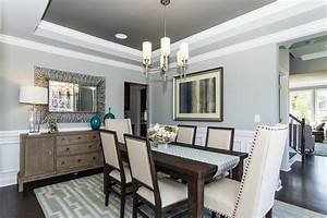 Wooden Buffet And Soft Grey Wall Color For Stylish Dining
