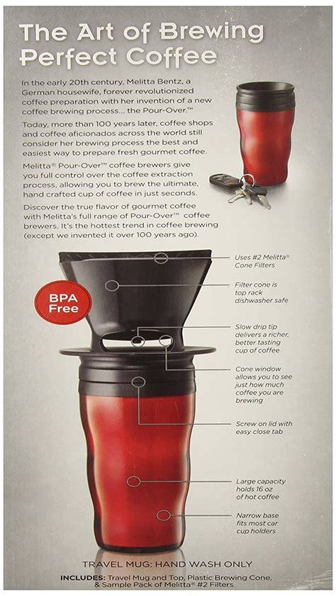 Uses #2 or #4 size cone filters. Melitta Coffee Maker, Single Cup Pour-Over Brewer with Travel Mug, Red (Pack of   eBay