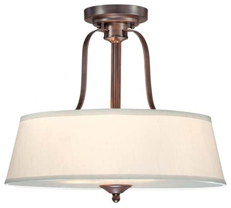 three light espresso drum shade semi flush mount