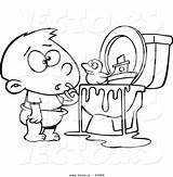 Toilet Coloring Cartoon Outline Boy Bathroom Toys Pages Leishman Ron Potty Vector Printable Clipart Outlined Vecto Rs Royalty Fix Toilets sketch template