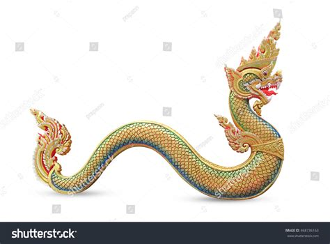 Serpent King King Naga Statue Thai Stock Photo 468736163