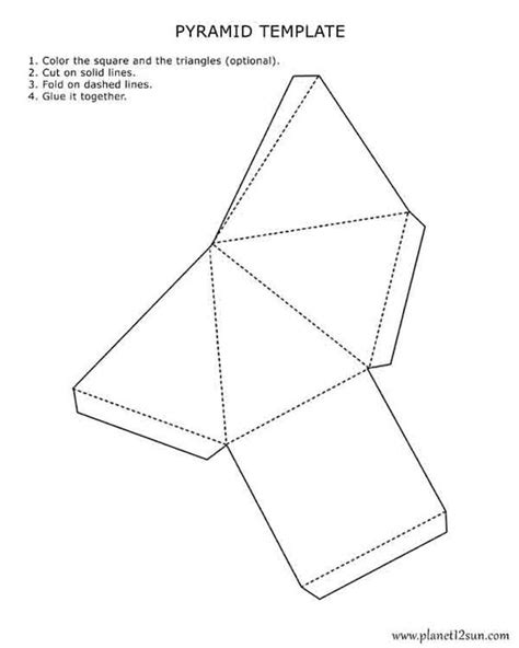 pyramid template printable 3d pyramid template color it cut it out fold it and glue it together worksheets