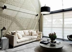 Papier Peint Moderne Salon : papier peint brique pour un salon de style industriel ~ Melissatoandfro.com Idées de Décoration
