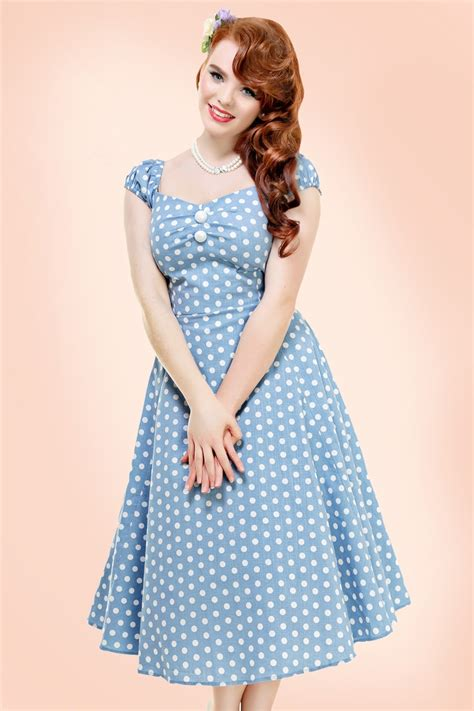 swing dresses 50s dolores polkadot doll swing dress in dusky blue and white