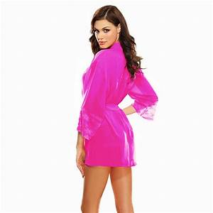 women underwear sexy lingerie pajamas satin robe chemise With robe chemise à carreaux