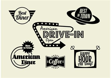 cuisine 馥s 50 50s diner coffee and fast food pack free vector stock graphics images