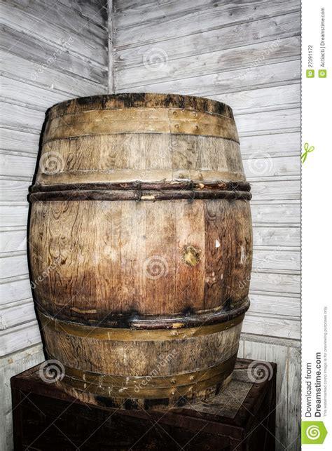antique decorative wood whisky barrel stock photo
