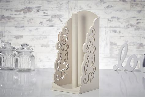 shabby chic kitchen roll holder vintage shabby chic wooden kitchen towel paper holder roll dispenser white beige ebay