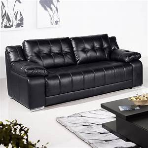 Newham black leather sofa collection for Black leather sectional sofa uk