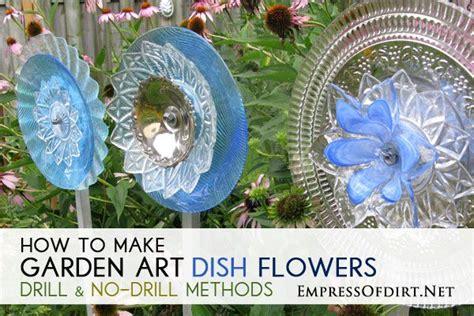 garden art dish flowers   drill
