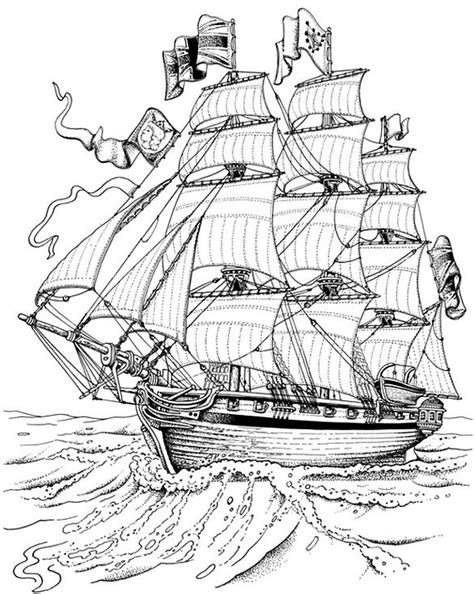 tall ship for colouring in | Coloring Pages for grown ups | Adult coloring pages, Free coloring