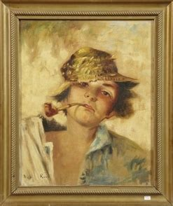 italian school oil  canvas painting signed rossi
