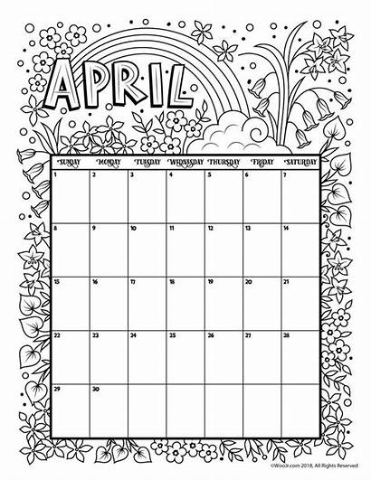 Calendar Coloring Printable 2021 April Adults Pages