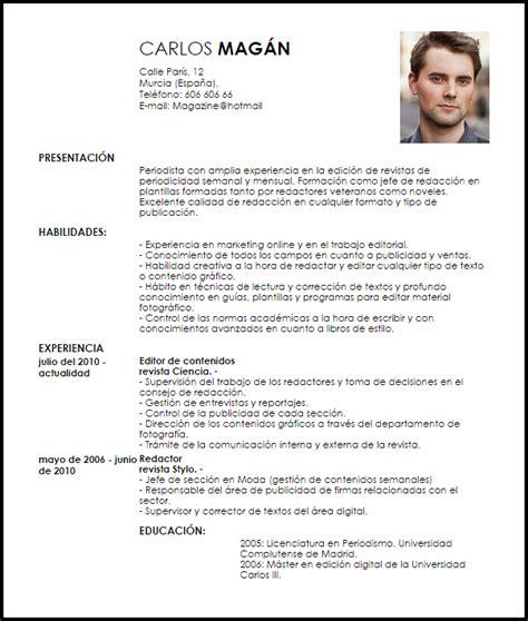 Cv Editor by Modelo Curriculum Vitae Editor De Revista Livecareer