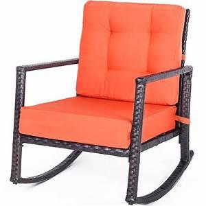 Patio, Chair, Outdoor, Glider, Rattan, Rocker, Chair, Wicker, Rocking, Chair, With, Orange, Cushion, For